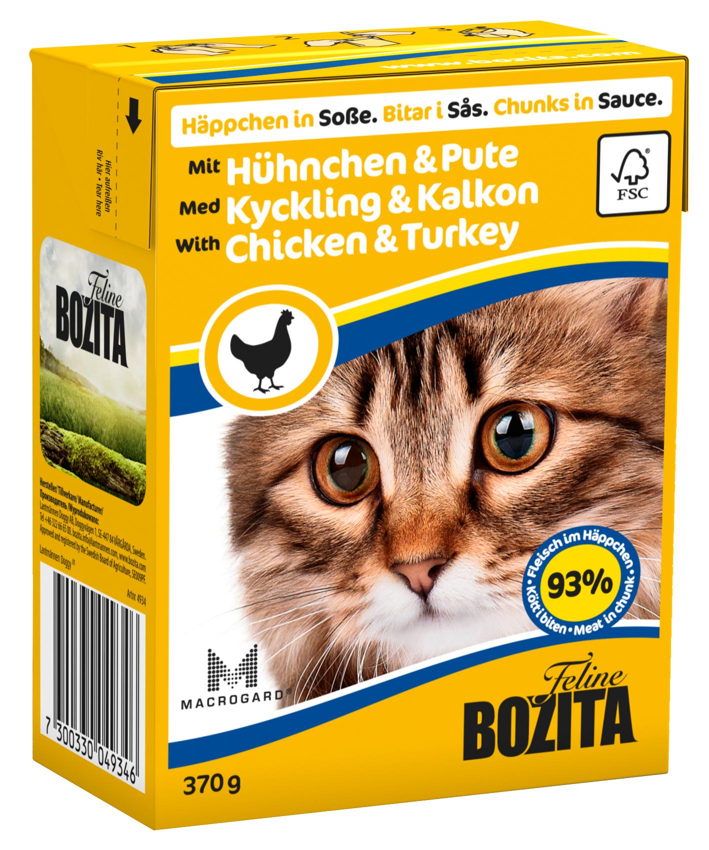 Bozita Bitar i Sås m Kyckling Kalkon 370g
