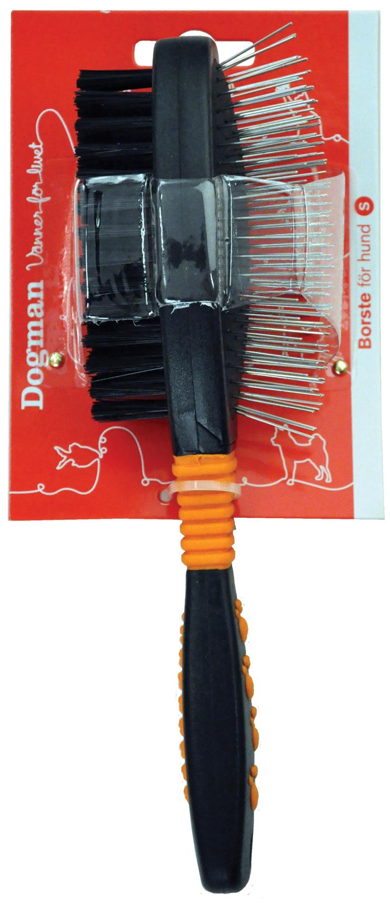 Dogman Borste dubbelsidig metallpigg 22,5cm