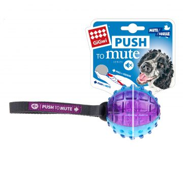 GiGwi Leke PushToMute Ball Blå M 22,5cm