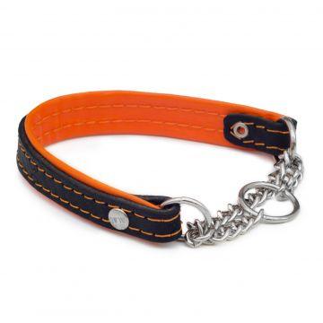 Alac Läderhalsband halvstryp Orange