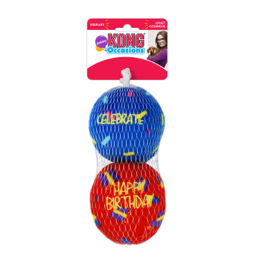 KONG Leksak Birthday Balls 2p Flerfärgad L 7,5cm