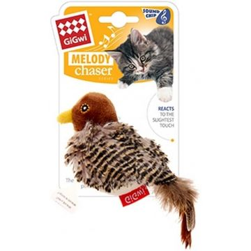GiGwi Leksak MelodyChaser Bird Brun 14cm
