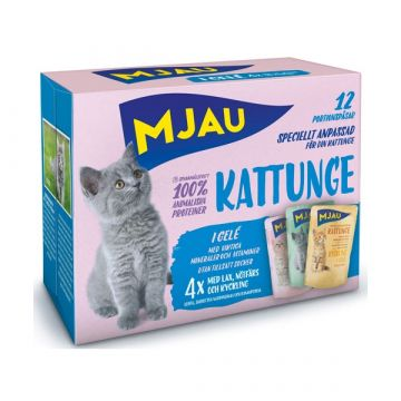 Mjau Bitar i gelé Kattunge mix 12x85g