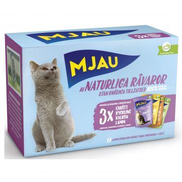 Mjau Bitar i gelé med kött mix 12x85g