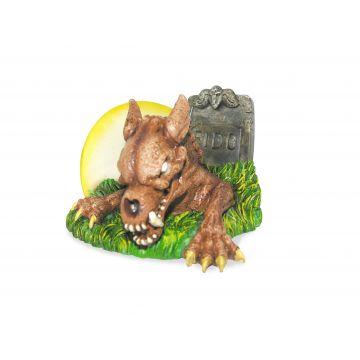 Pennplax Dekor Zombie hund i grav Brun M 11cm
