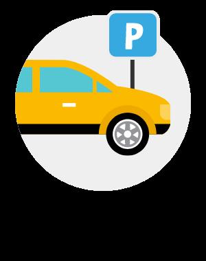 Vi har en stor parkering utanför butiken där du parkerar gratis